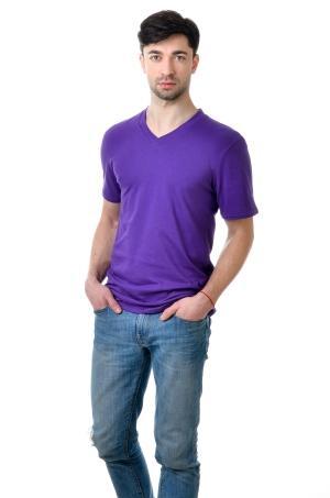 Футболка мужская c V вырезом - фиолет2101