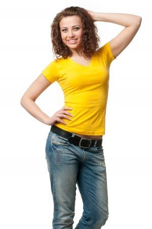 Футболка женская с V-образной горловиной 8508 - желтый