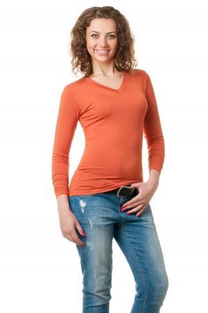 Футболка женская с длинным рукавом - 4503 янтарь