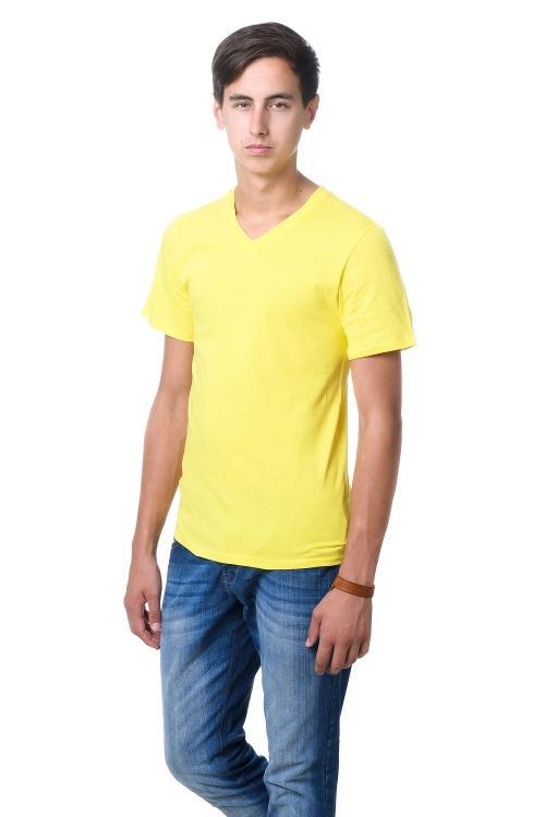Футболка мужская c V вырезом - 2107 лимон