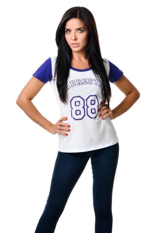 Футболка женская 2601 - белый + фиолет