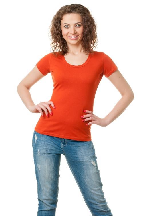 Футболка женская с круглой горловиной 8521 - рыжий