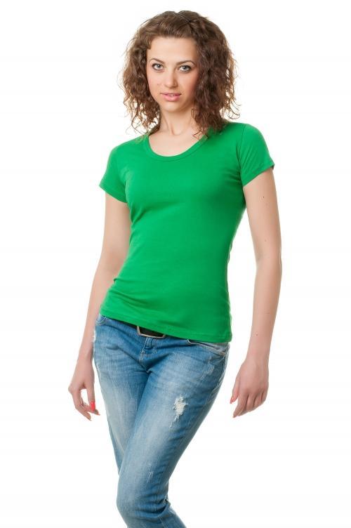 Футболка женская с круглой горловиной 8526 - зеленая трава