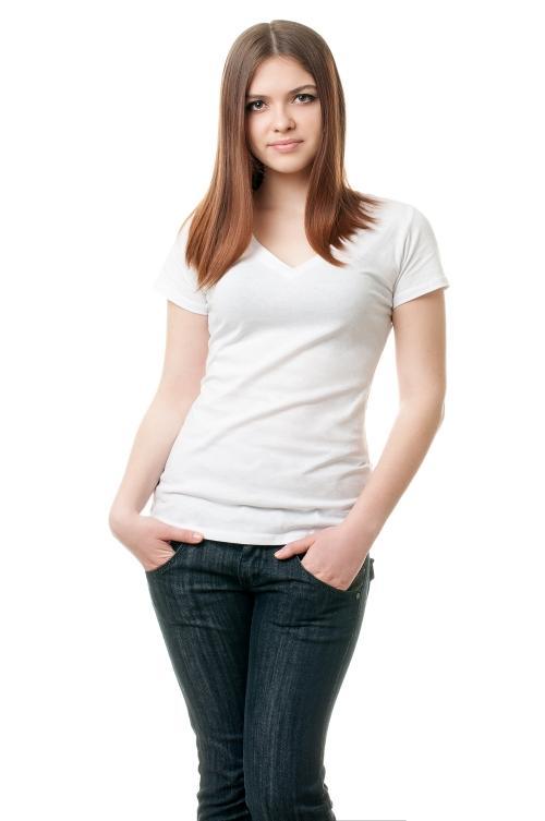 Женская футболка с v образным вырезом белая 8501