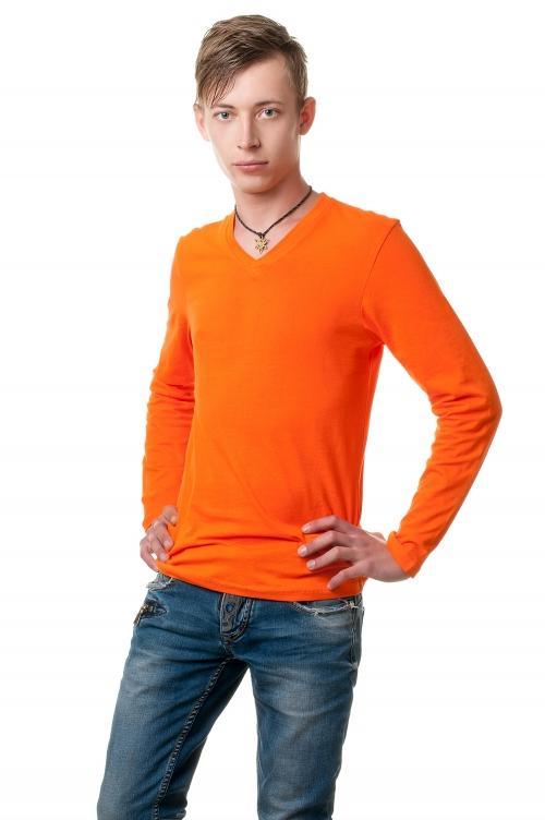 Реглан с V вырезом - оранжевый 8113