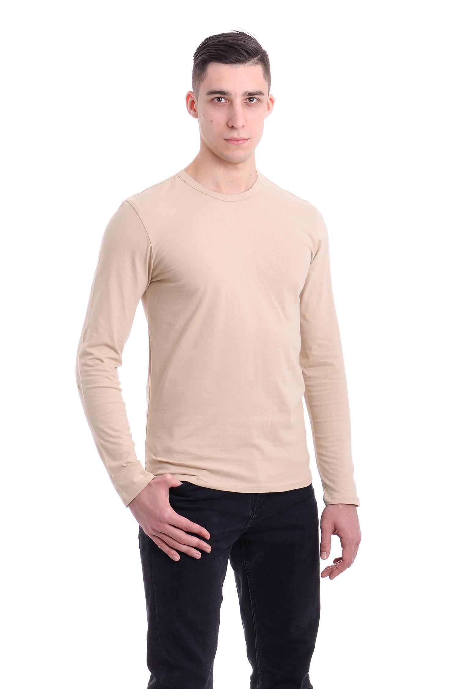 Купить футболку с длинным рукавом бежевую оптом и в розницу - AndreStar 90d62b40ac403