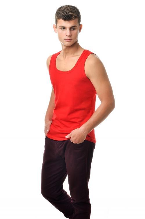 Майка мужская - красный 2903