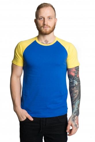Мужская футболка-реглан сине-желтая