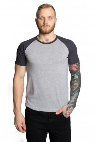 Мужская футболка-реглан меланж*темно-серый