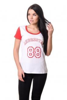 Футболка женская 2608 - красный+белый