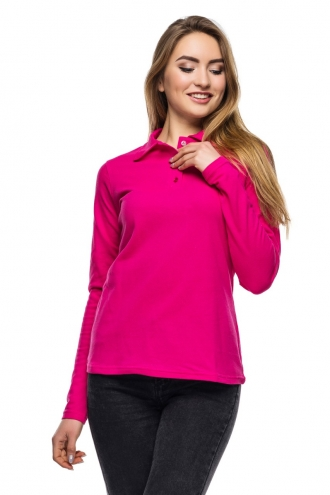 Женская футболка Polo с длинным рукавом малиновая