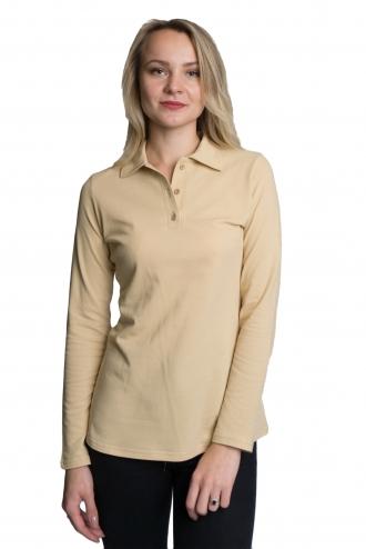 Женская футболка Polo с длинным рукавом - 2857 бежевое