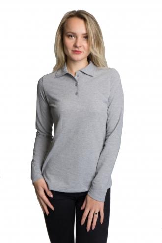 Женская футболка Polo с длинным рукавом меланжевая
