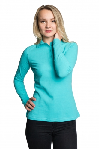 Женская футболка Polo с длинным рукавом минтоловая