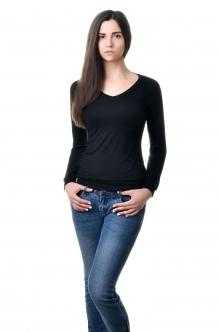 Футболка женская с длинным рукавом - 4505 черный