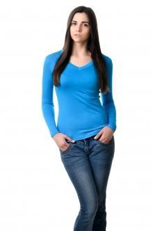 Футболка женская с длинным рукавом - 4506 бирюза