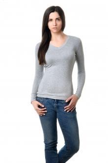 Футболка женская с длинным рукавом - 4508 меланж