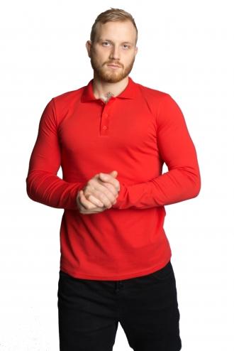 Футболка Polo с длинным рукавом - 7073 красный