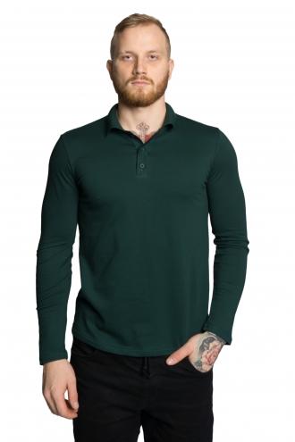 Футболка Polo с длинным рукавом - 7074 темно зеленый