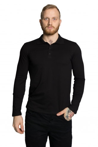 Футболка Polo с длинным рукавом - 7076 черный