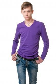 Реглан с V вырезом - фиолетовый 8114