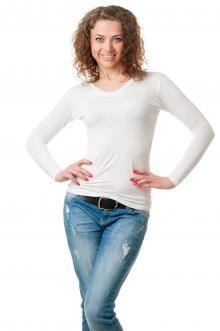 Футболка женская с длинным рукавом - 4501 белый