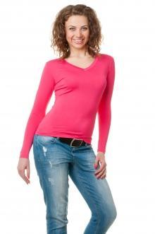 Футболка женская с длинным рукавом - 4507 малина