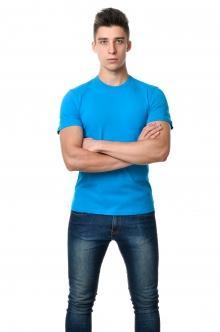 Цветные однотонные мужские футболки 3011 - бирюзовый