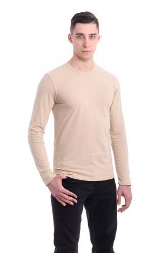 Мужская футболка с длинным рукавом бежевая