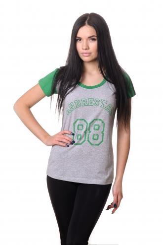 Футболка женская 2605 - зеленый + меланж