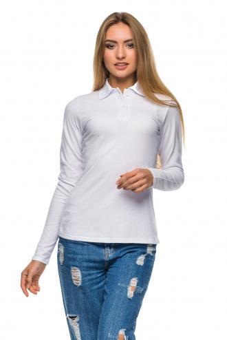 Белая Женская футболка Polo с длинным рукавом