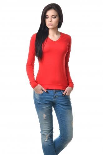 Футболка женская из вискозы с длинным рукавом красная
