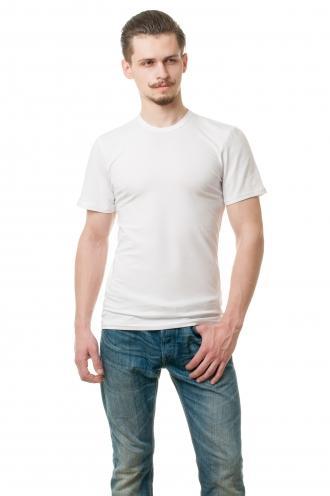 Белая мужская футболка из стрейч-коттона
