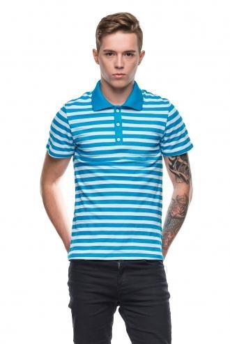 Модная Мужская Полосатая Футболка Polo Синяя