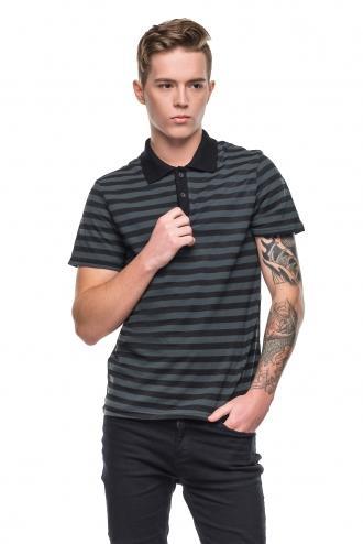 Модная Мужская Полосатая Футболка Polo черная