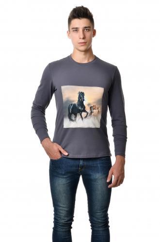 Футболка с длинным зауженным рукавом - 7201 кони серый