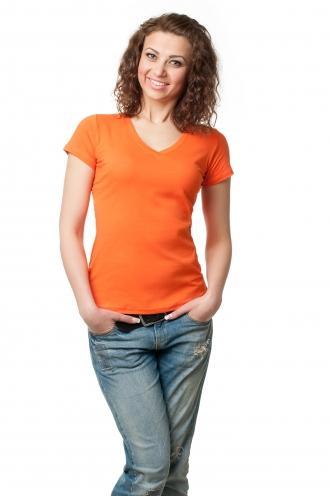 Футболка женская с V-образной горловиной  оранжевая