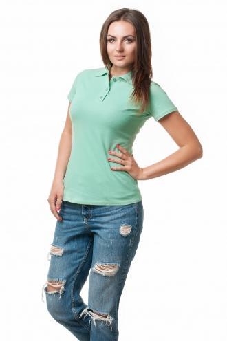 Женская футболка Поло мятная