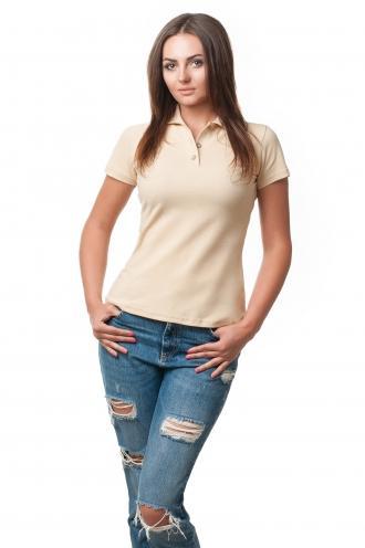 Бежевая Женская футболка Поло