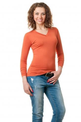 Футболка женская с длинным рукавом - 4503 оранжевый