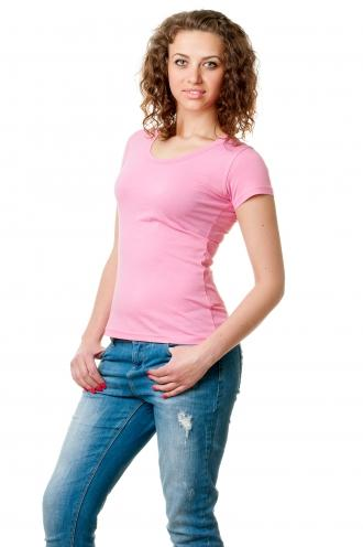 Футболка женская с круглой горловиной розовая