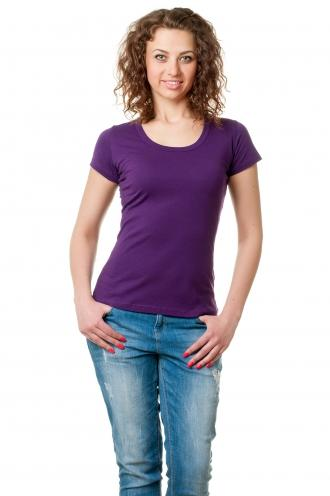 Футболка женская с круглой горловиной фиолетовая