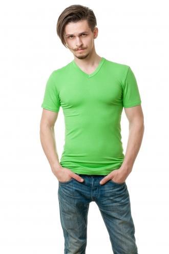 Салатовая Мужская футболка с V вырезом viskosa